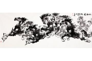 办公室骏马图 陈云鹏写意动物画作品《八骏图》