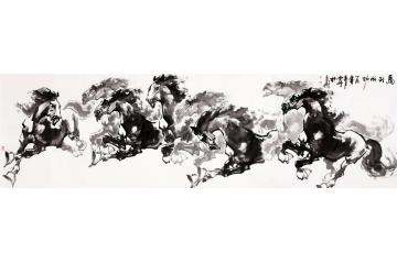 画家陈云鹏写意动物画八骏图作品《马到成功》