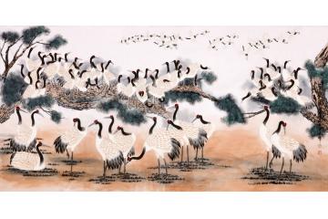 河南省美協會員王建輝八尺力作《百鶴圖》