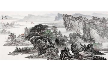 著名畫家林德坤手繪原創(精品)國畫作品《春山牧歌》