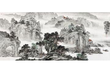 林德坤(精品)手繪原創山水畫《春山隱禪意》