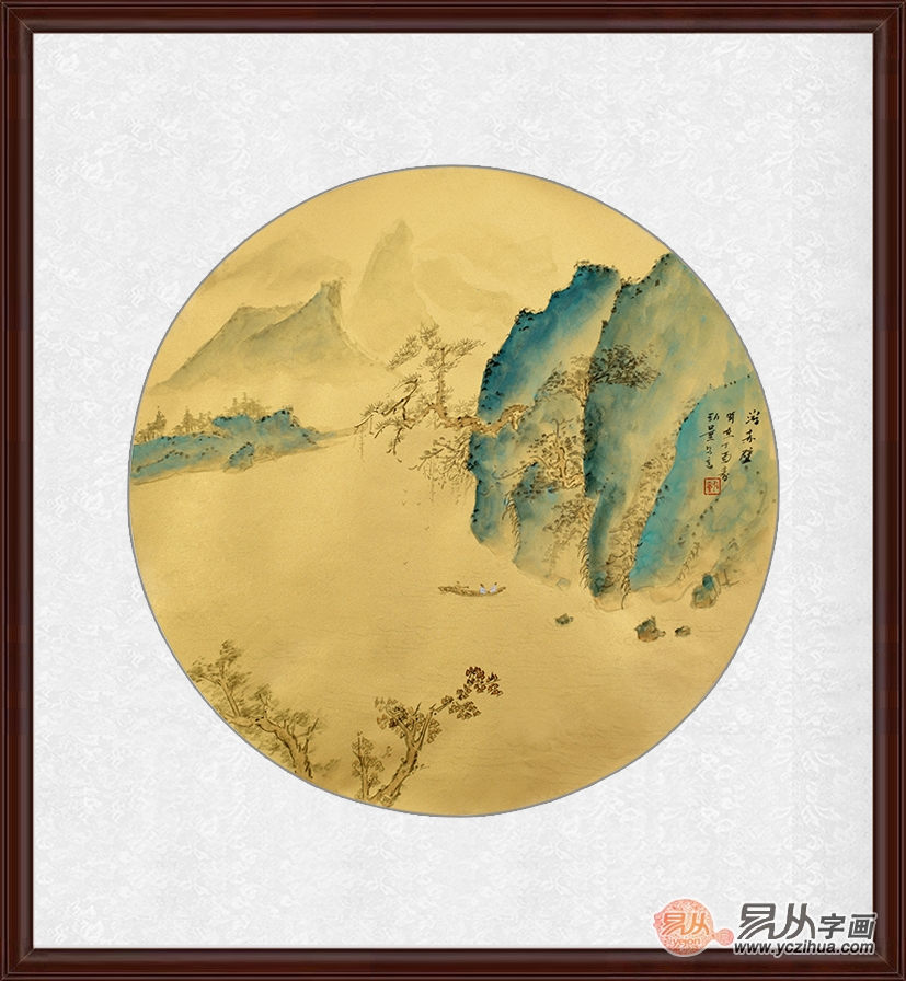 小品装饰壁画 袁弘量圆形国画山水作品《游赤壁》