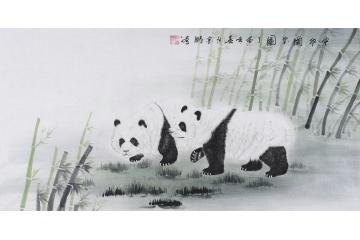客厅装饰画 画家杨金鹏四尺横幅工笔动物画 国宝熊猫《.