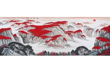 氣派客廳掛畫 李林宏吉利紅山水畫作品《鴻運當頭》