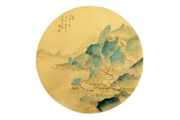 袁弘量最新力作写意山水画小品《闲云人家》