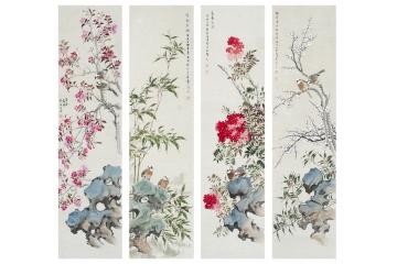 許芬國畫花鳥畫四條屏《春色滿園》