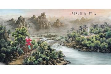 央視全球首屆藏寶投資十佳畫家徐國維作品《山村晨趣》