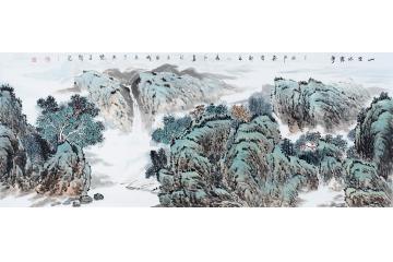 杨成功六尺横幅写意山水画作品《山空水云净》