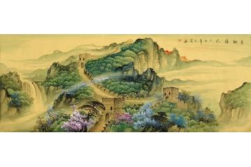 画家玉简奇思妙色重彩山水画《长城雄风》不一样的长城-茶楼挂国画