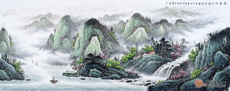 客厅沙发背景画 王宁六尺山水画《万里峡江祥云起》