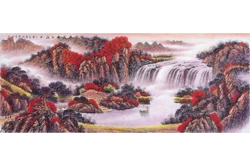 李林宏最新力作六尺横幅国画作品《一夜烟霜红遍山》