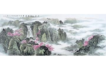 春山富居桃花開 李林宏寫意國畫《江南三月好景色》