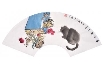 张金凤新作国画扇面动物画
