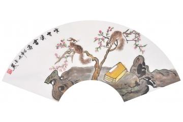 现代简约客厅挂画 张金凤最新力作扇面动物画 松鼠《惟.
