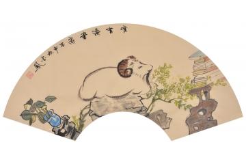 张金凤新作扇面动物画