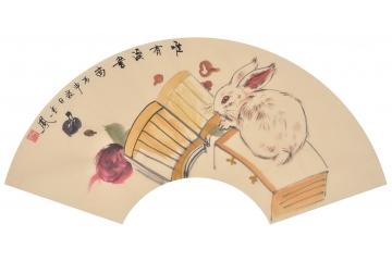 现代简约新中式客厅装饰画 张金凤新作扇面动物画 生肖.