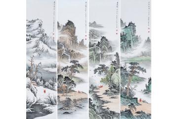 薛大庸《春夏秋冬》,四条屏山水画-【易从网】