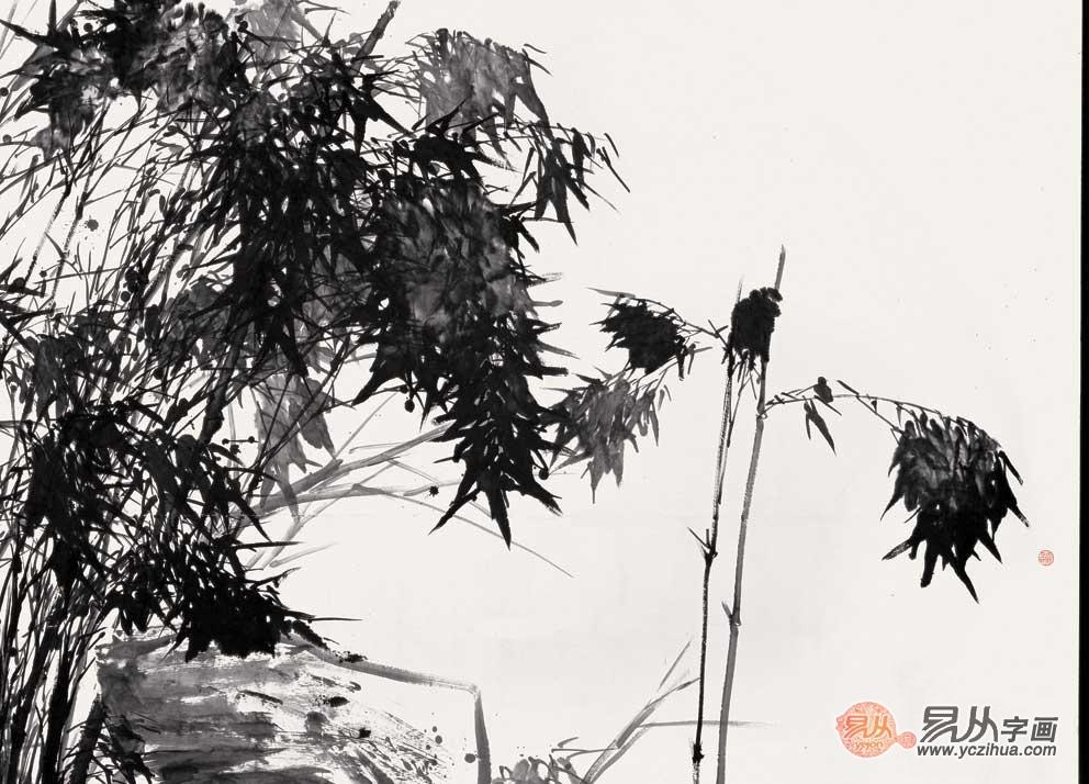 中国画系主任 张立辰横幅写意花鸟画《竹藏风雨》