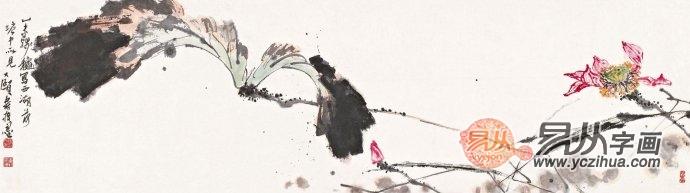 国画大师潘天寿写意花鸟画荷花图《西湖荷塘》