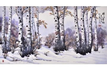 雪景山水画 孙玉海六尺横幅国画山水作品《桦林雪韵》