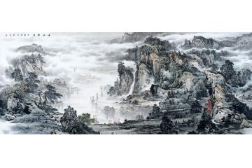 趙洪霞新品八尺橫幅國畫山水畫《峽江勝景》