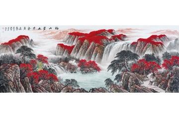 蒋伟最新风水画聚宝盆作品《福山贵水紫气东来》