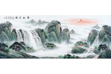 春山如黛 蒋伟六尺力作山水画作品《春和景明》