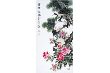 松鹤牡丹图 石开最新四尺竖幅作品《富贵长春》