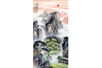李林宏新品力作四尺竖幅作品《紫气东来》松下有竹,报平安
