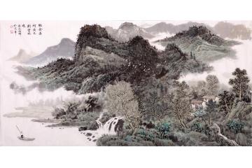 高龄画家沈兆祥四尺横幅山水画作品《轻舟去何疾》