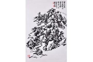当代实力派画家 赵亚铭竖幅山水画《焦墨山水之一》