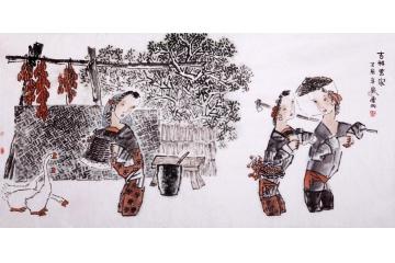 郭連成四尺橫幅人物畫作品《吉祥農家》