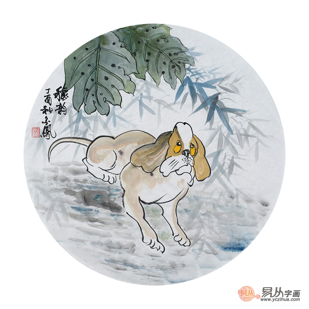 张金凤斗方新作写意动物画《秋韵》