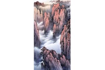 李林宏最新力作竖幅山水画黄山《紫气东来》