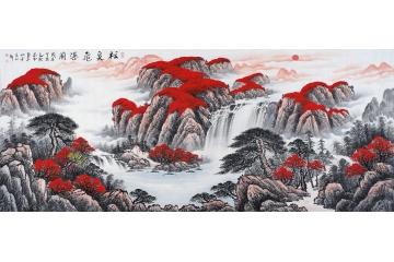 鴻運聚寶盆 蔣偉人氣風水畫作品《松泉飛瀑圖》