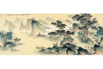 適合收藏字畫 王寧力作仿古國畫作品《寶地雅居》