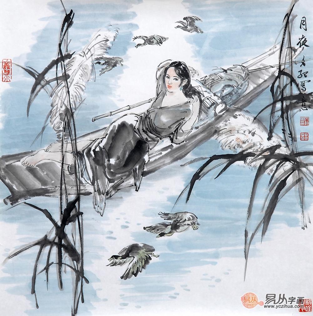 冉文纪斗方写意人物画《月夜》