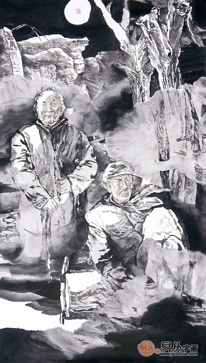 冉文纪写意人物画月夜老人《穷款》