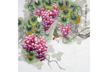 羽墨最新斗方多子多福葡萄作品《碩果盈豐》