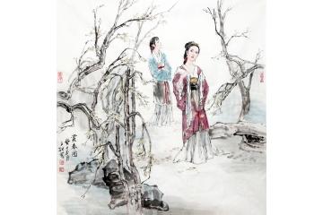 古代美女图 冉文纪斗方写意人物画《赏春图》