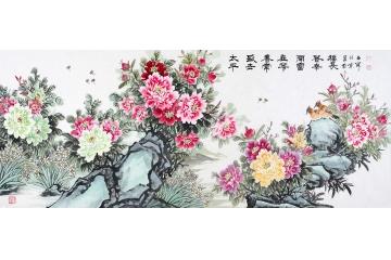 石開最新八尺牡丹作品《太平盛世春常在 花開富貴幸福長》