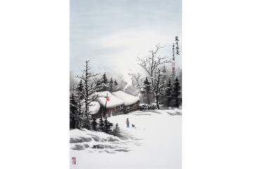 雪景人物点景山水画图片