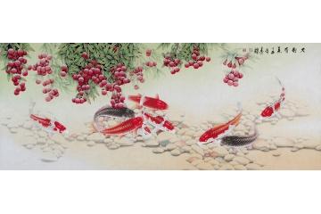 【全網熱銷題材】王建輝最新六尺荔枝九魚圖《大利有余》