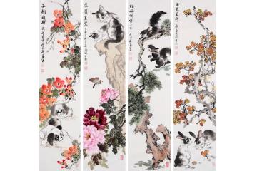 祝寿庆生四条屏客厅家畜图动物画-【易从网】