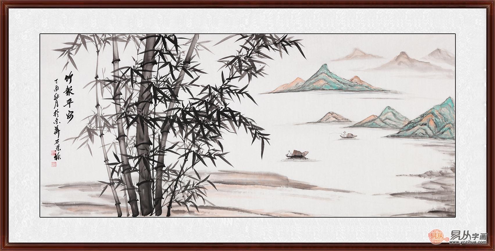 用竹子山水画装饰卧室清雅别致,颇具古风,还可以给家中带来富贵,平安