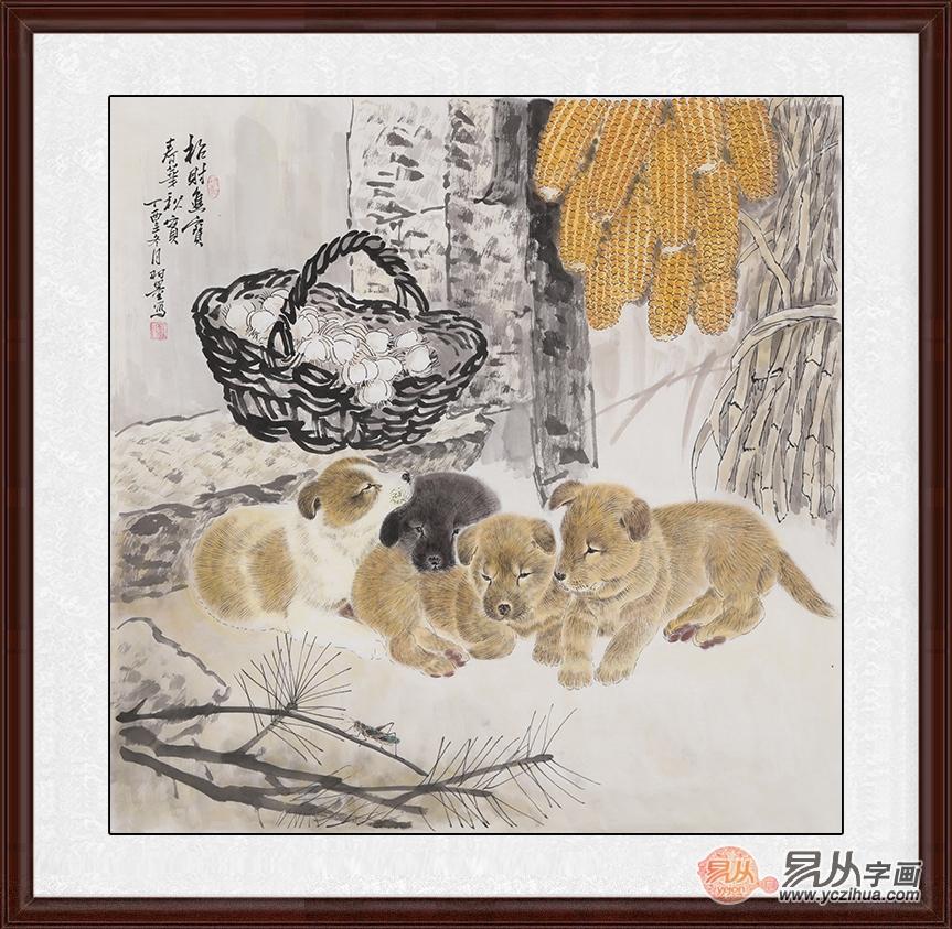 推荐的第一幅画,就是羽墨的工笔画小动物狗,这幅画中小狗画的十分可爱