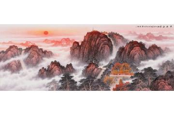 五岳獨尊大靠山 王寧泰山日出國畫作品《紫氣東來》