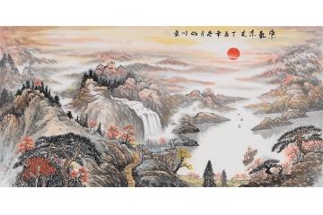 聚宝盆流水生财 山川写意山水画《紫气东来》