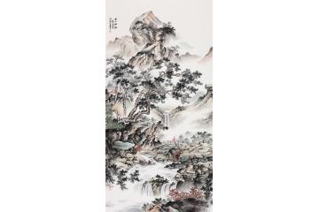 王寧最新仿古山水畫精心之作《溪山秋韻》
