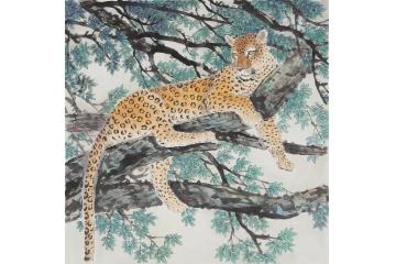 国画豹 羽墨斗方工笔动物画 金钱豹《神威》